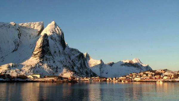 Town in the Lofoten Islands northern Norway Royalty-free stock video