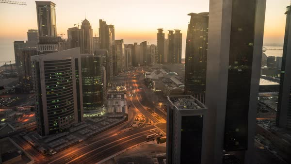 Timelapse of sunrise over downtown & central business district, Doha, Qatar, Middle East Royalty-free stock video