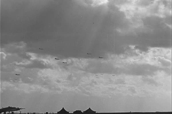 Allied bombers attack Nazi forces by air in Berlin during WWII. Royalty-free stock video