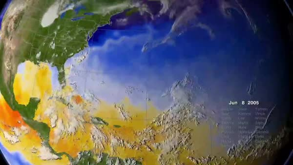 The entire Caribbean hurrican season is animated on a globe in 2005. Royalty-free stock video