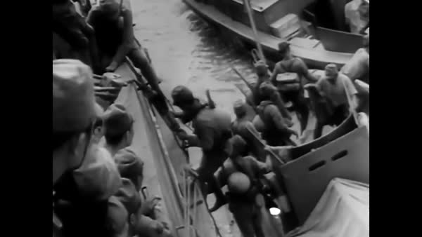 Japanese forces invade, executing the Aleutian Islands Campaign, in Alaska in World War 2. Royalty-free stock video
