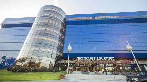 Hyperlapse of the Pacific Design Center in Los Angeles, California, USA Rights-managed stock video