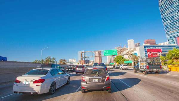 Hyperlapse of a freeway in Los Angeles, California, USA Rights-managed stock video
