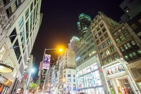 Hyperlapse shot of buildings in New York City at night Rights-managed stock video