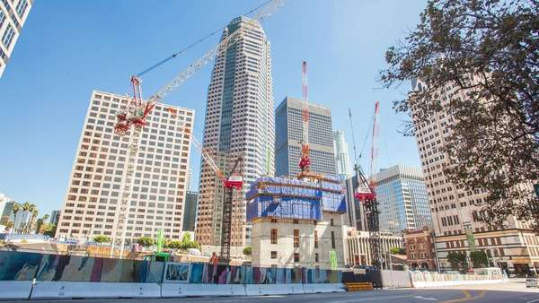 DOWNTOWN, LOS ANGELES, CALIFORNIA, USA - 24 SEPTEMBER 2014, Hyperlapse (Timelapse in motion) video view on the skyscraper construction. Royalty-free stock video