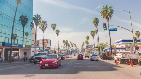 Hyperlapse shot of car driving in East Hollywood, Los Angeles Royalty-free stock video