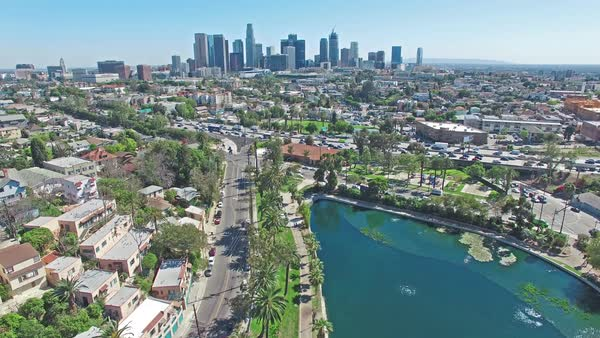 Aerial panning timelapse shot of Downtown Los Angeles Royalty-free stock video