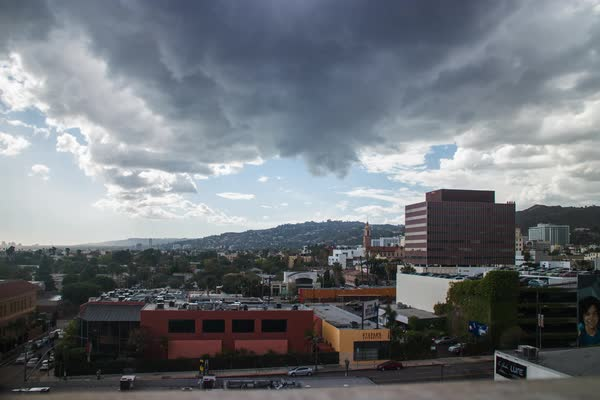 Timelapse shot of clouds drifting above Hollywood, Los Angeles Royalty-free stock video