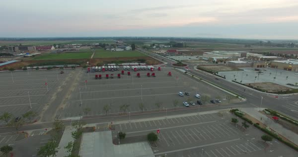 Aerial shot of trucks in a parking lot Royalty-free stock video
