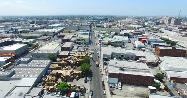Aerial shot of the Fabric District in Downtown Los Angeles Royalty-free stock video