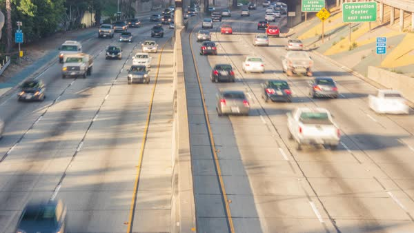 Timelapse shot of morning traffic on a freeway in Downtown Los Angeles Royalty-free stock video