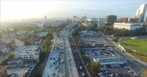 Aerial shot of morning traffic in Los Angeles Royalty-free stock video