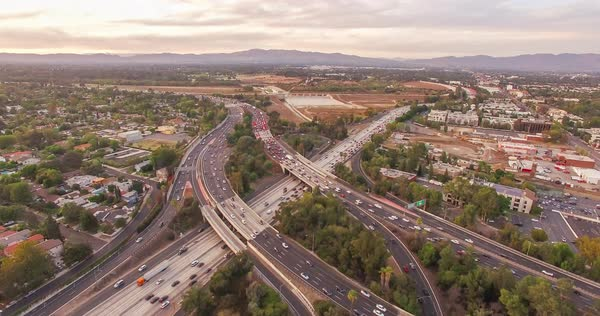 Drone shot of busy freeways in a large city Royalty-free stock video