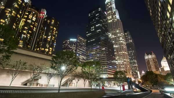 DOWNTOWN, LOS ANGELES, CALIFORNIA, USA - 07 MARCH 2014, Hyperlapse (timelapse in motion) video view on skyscrapers at night. Royalty-free stock video