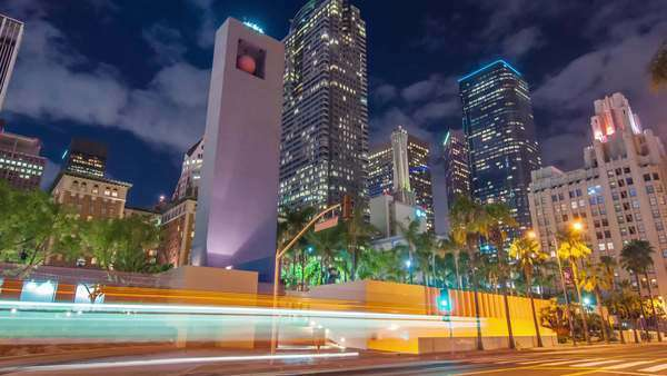 DOWNTOWN, LOS ANGELES, CALIFORNIA, USA - 13 October 2014, Hyperlapse video view on business buildings and street traffic at night. Royalty-free stock video