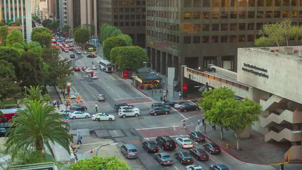 DOWNTOWN, LOS ANGELES, CALIFORNIA, USA - 28 SEPTEMBER 2014, Timelapse on busy intersection in LA. Royalty-free stock video