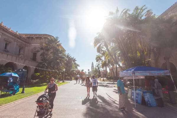 Hyperlapse of people walking in the Balboa Park, San Diego, USA Rights-managed stock video