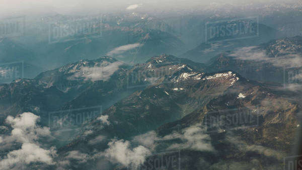 Mountain range view from the sky Royalty-free stock photo