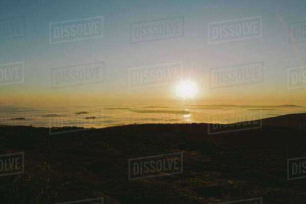 Beautiful sunrise from top of mountain Royalty-free stock photo