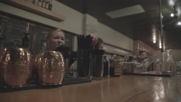 Steadicam shot view of a group of bartenders at the bar Royalty-free stock video