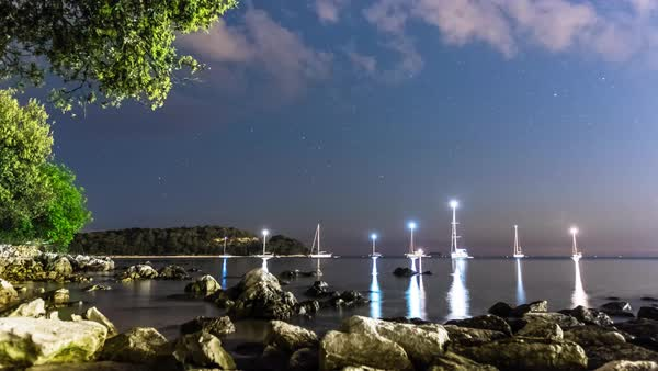 Timelapse shot of sailboats in Rovinj, Croatia Royalty-free stock video
