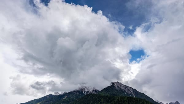 Timelapse shot of a peak of a mountain in Alta Pusteria, Italy Royalty-free stock video