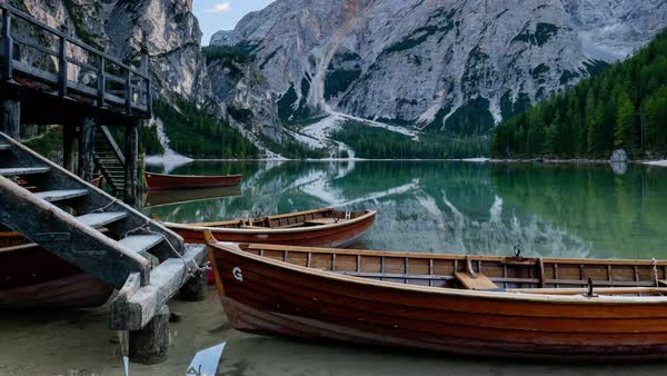 Close-up view of the rowing boats at the Braies Lake in Alta Pusteria, Italian Alps Royalty-free stock video
