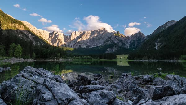 View of Lacs de Fusine with Mt Mangart in the background Royalty-free stock video