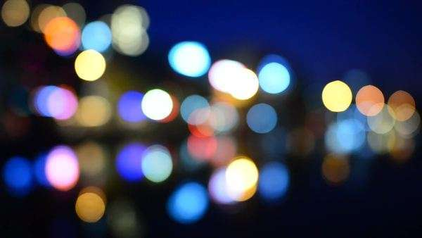Blurred  Colorful City Lights Reflecting off Water - Hanoi Vietnam Royalty-free stock video