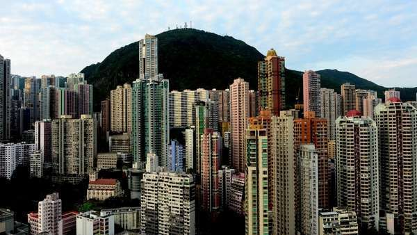 Timelapse of Sunrise of Hong Kong Skyline and Victoria Peak - Hong Kong China Royalty-free stock video