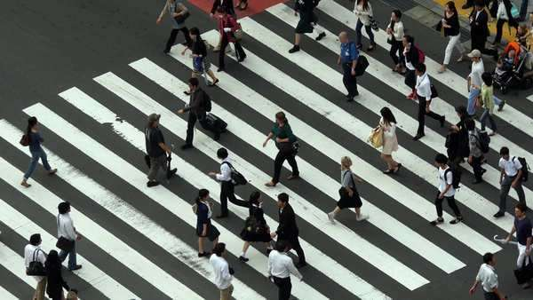 Busy Pedestrian Crossing From Above  - Shibuya, Tokyo Japan Royalty-free stock video