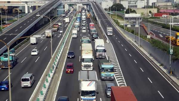 Timelapse of Heavy Truck Traffic on Japanese Highway -   Tokyo Japan Royalty-free stock video