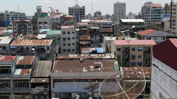 Yangon, Myanmar: Zoom out on skyline Royalty-free stock video