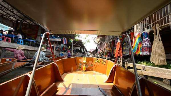 Famous Thailand floating market: Viewed from inside boat Royalty-free stock video