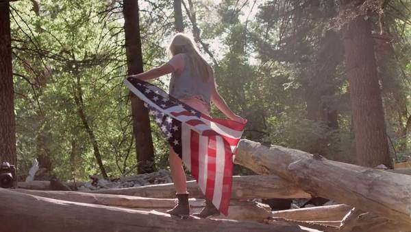 Young woman holds the american flag and dances on a log in beautiful forest (slow motion, lens flare) Royalty-free stock video