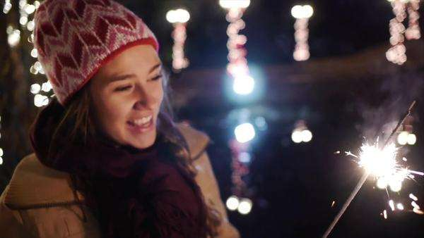 Close Ups Of Teen Girls With Sparklers For The Winter Holidays Royalty-free stock video