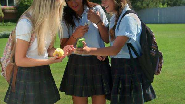Three Pretty Uniformed Teen School Girls, Standing -7962