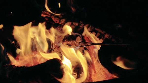 Super Slow Motion Marshmallow Burning into Fire Camp Royalty-free stock video