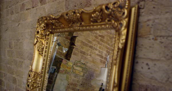 Mirror on dressing table in bedroom of apartment Royalty-free stock video