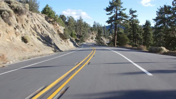 Driver's POV in rural california, USA, with shadows of trees Royalty-free stock video