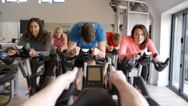 Instructor's POV of spinning class at a gym Royalty-free stock video