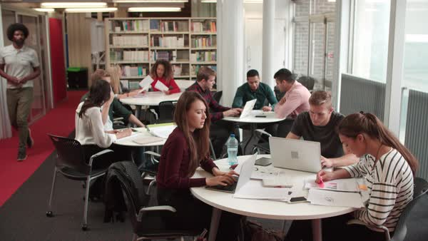 Busy University Library With Students And Tutor Royalty-free stock video