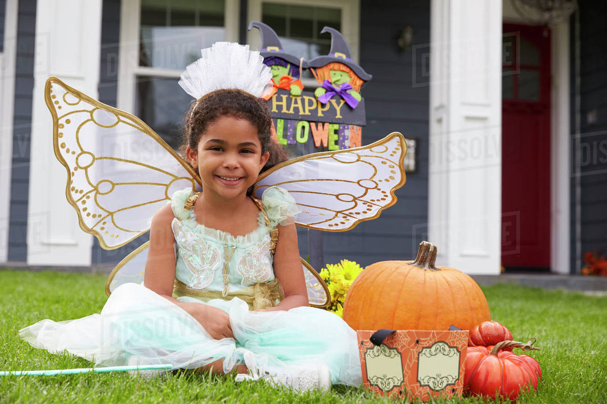 Portrait Of Girl Dressed In Trick Or Treating Fairy Costume Royalty-free stock photo