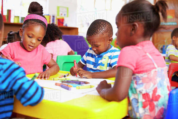 Preschool class in South African township, close-up Royalty-free stock photo
