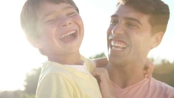 Portrait of hispanic father and son in slow motion Royalty-free stock video