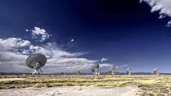Static shot showing satellite antennas on an open field Rights-managed stock video
