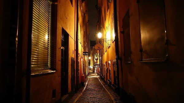 Panning shot of a narrow street in Stockholm Royalty-free stock video