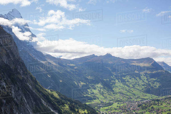 High angle view  of a village in a valley Royalty-free stock photo