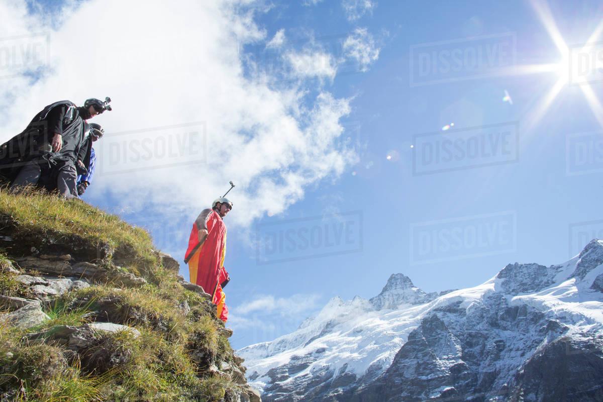 Wingsuit flyer preparing to jump Royalty-free stock photo