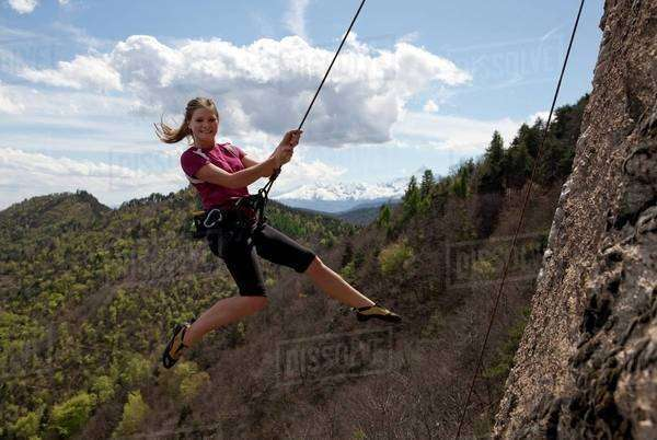 Young woman doing extreme sports in Piedmont, Italy Royalty-free stock photo